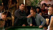 For luck, Gary blows on the dice his half-brother Mitch (Rob Riggle) is about to roll on an impromptu Las Vegas casino trip.
