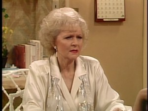 Rose Nylund, typically confused.