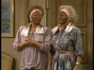Blanche and Rose pick an inopportune time to paint their faces with mud.