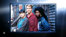 "Demi Moore, Patrick Swayze, and Whoopi Goldberg pose for a publicity shot on the set. This and many other stills are included on the ""Ghost"" Blu-ray and Special Collectors Edition DVD."