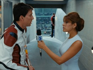 Johnny Blaze (Nicolas Cage) grants an exclusive interview to his long-lost love Roxanne (Eva Mendes).