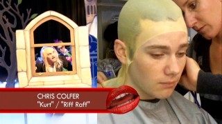 Chris Colfer is fitted for a bald cap to play Riff Raff in the Rocky Horror Glee Show.