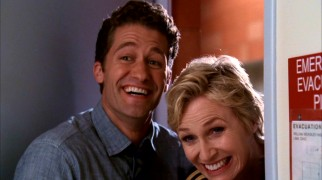 "In sharp contrast to their Season 1 rivalry, ""Schue"" (Matthew Morrison) and Sue (Jane Lynch) team up in Season 2's premiere, but it doesn't last."