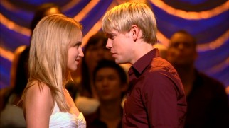 "New power couple Quinn Fabray (Dianna Agron) and Sam Evans (Chord Overstreet!) take the lead at sectionals, singing ""(I've Had) The Time of My Life."""