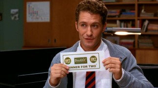 As if his perm and Mr. Rogers' sweater aren't enough inspiration, Glee Club moderator Will Schuester (Matthew Morrison) throws a Breadstix gift certificate into the mix.