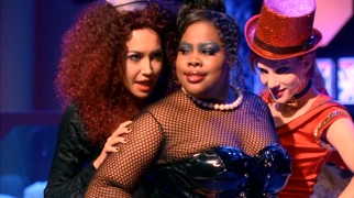 "As part of ""Glee""'s episode-long tribute to ""The Rocky Horror Picture Show"", Santana (Naya Rivera) as Magenta, Mercedes (Amber Riley) as Dr. Frank-N-Furter, and Brittany (Heather Morris) as Columbia perform ""Sweet Transvestite."""