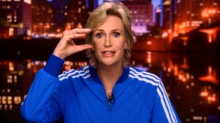 "Cheerios coach Sue Sylvester (Jane Lynch) continues to tell northwestern Ohio how she sees (or Cs) it on the local news segment ""Sue's Corner."""