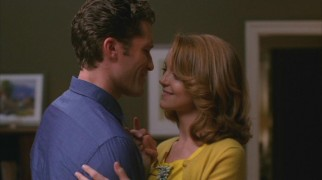 For their first real date, Will and Emma (Jayma Mays) spend the evening dancing in Will's living room.