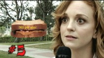 We discover fact #5 about Jayma Mays: she eats a peanut butter and jelly sandwich every single day, which the producers helpfully illustrate for us.