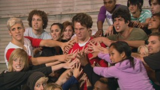 "Jonathan Groff and the rest of Vocal Adrenaline put on their best angry faces during rehearsals for ""Bohemian Rhapsody."""
