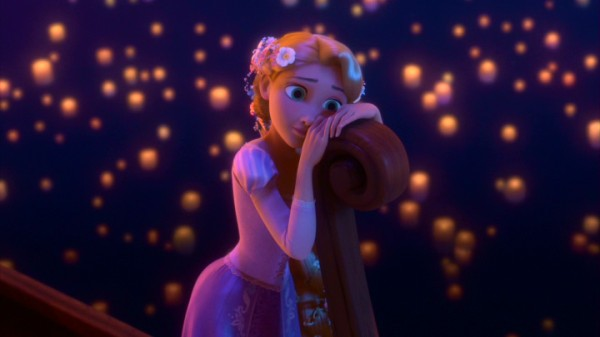A wistful Rapunzel enjoys the sight of the kingdom's annual sky lantern ceremony.