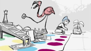 Gnomeo's mind wanders as Featherstone the flamingo tries to play a game using parts of an assortment of other games.