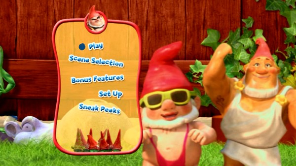 Mankini Gnome and other red gnomes mostly stay still on the DVD main menu's pan across the lawn.
