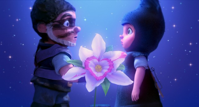 It's love at first sight for Gnomeo and Juliet, garden gnomes from rival opposite sides of an English fence, who meet with an orchid between them.
