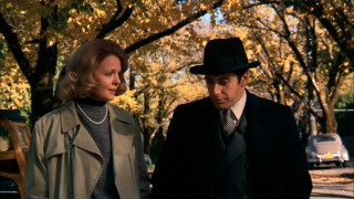 WASP schoolteacher Kay Adams (Diane Keaton) and Michael Corleone (Al Pacino) share an autumn stroll that marks their reunion in the original film.