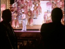 Dark silhouettes were used in this deleted Part II scene, in which Al Neri (Richard Bright, right) humiliates a recalcitrant Las Vegas hotel owner in front of his stage performers.