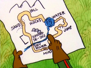With this hand-drawn map, Peppermint Patty introduces the typical motocross course, complete with Whoop De-Do's.