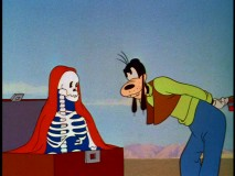 "A skeleton in the trunk from ""Baggage Buster."""