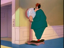 "In ""Tomorrow We Diet"", Goofy watches his weight. Literally."