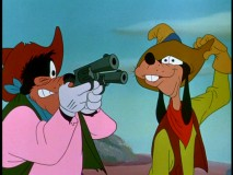 "Goofy has a run-in with bank robber Pete in ""Two-Gun Goofy."""