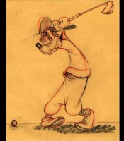 "This pencil sketch shows Goofy taking aim in ""How to Play Golf."""