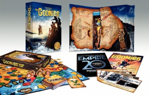 This shot gives us a look at the contents of the Blu-ray version of The Goonies: 25th Anniversary Collector's Edition, with cool large box, magazine reproductions, storyboard cards, and board game.