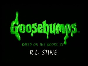 The signature Goosebumps series title logo drips down in 1990s bright green.
