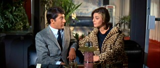 Ben and Mrs. Robinson (Anne Bancroft) meet at the bar in the Taft Hotel for their liaisons.