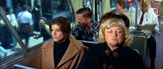Elaine (Katharine Ross) is not pleased to see Ben in Berkeley, chasing after her bus.