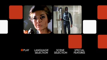 Mrs. Robinson and Scuba Ben appear among red and white rounded squares on the animated main menu of The Graduate: 40th Anniversary Edition DVD.