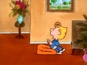 Sally tests her temporarily invisible brother Charlie Brown (left) to confirm that the voice she hears belongs to him.