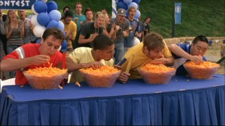 Greek Week certainly plays to everyone's strengths, as evidenced here by the cheese puff-eating competition.