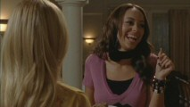 Amber Stevens finds herself unable to get through a speedy delivery without breaking character in the bloopers reel.