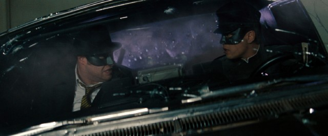 "Self-made Los Angeles superheroes The Green Hornet (Seth Rogen) and Kato (Jay Chou) collect their thoughts in the midst of climactic action in #78, ""The Green Hornet."""