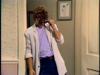 Mike Seaver (Kirk Cameron) opts for a Miami Vice look to impress Carol's cheerleader friend.