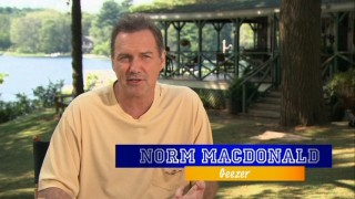 "Making up for the mere nine seconds of screentime he claims in the film as an unnamed Geezer, Norm MacDonald gets to talk up his co-stars in ""The Cast of 'Grown Ups.'"""