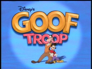 "Father and son appear in the ""Goof Troop"" title logo."