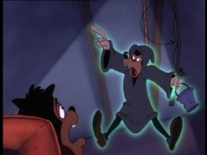Gawrsh! Is Goofy reprising his role as the ghost of Jacob Marley? The Ghost of Christmas Future seems frightened.