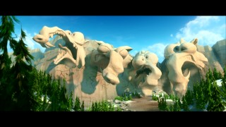 "An homage to Mount Rushmore forms bearing four different likenesses of Ice Age's squirrel in the Blue Sky short ""Scrat's Continental Crack-Up."""