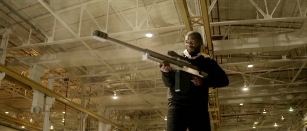 "Making some sense of the title, Rich (Curtis ""50 Cent"" Jackson) wields one of the biggest guns you've ever seen in the film's climactic warehouse shootout."