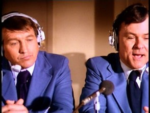 "Johnny Unitas and Pepper (""Hogan's Heroes"" star Bob Crane) provide play-by-play commentary."