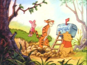Piglet, Tigger, and Winnie the Pooh take a stroll through the Hundred Acre Wood.
