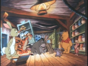 Rabbit, Tigger, Eeyore, Piglet, and Pooh aren't very welcome in Gopher's underground place.