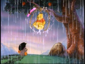 "Raindrops keep falling on Pooh's head in ""Bubble Trouble."""
