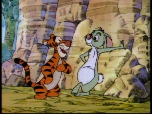 "In ""Tigger's Shoes"", Rabbit has a plan to keep Tigger's bouncing far away."
