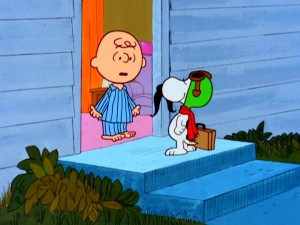 Snoopy dons a mustache for his return home to Charlie Brown.