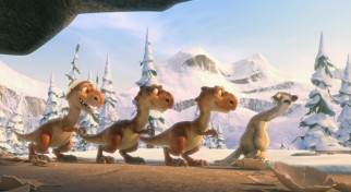 The three recently-hatched T-rexes imitate their blissfully-unaware surrogate mother Sid (John Leguizamo).