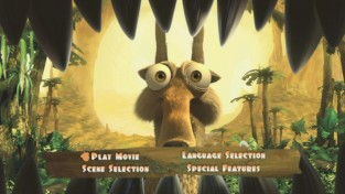 Both the BD and DVD's main menu features an animated Scrat trying to escape the jaws of a dinosaur, calling back to the film's print campaign.