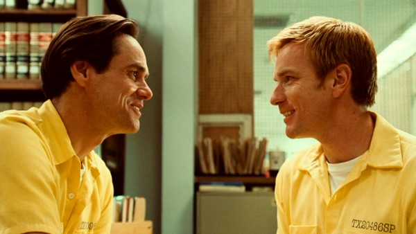 "Inmates Steven Russell (Jim Carrey) and Phillip Morris (Ewan McGregor) fall for one another over the law books of the prison library in ""I Love You Phillip Morris."""