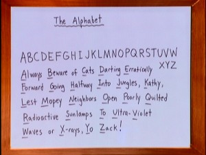 Demetri Martin gives us one way to remember the alphabet with this mnemonic exclamation.